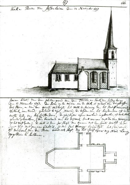 F3207<br /> Een tekening van de Dorpskerk anno 1797
