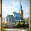 F0088 <br /> Een foto van een schilderij van de Ned.-herv. kerk, geschilderd door de Sassenheimse schilder Casper Verlint. Het schilderij stond in het kerkelijk centrum De Ontmoeting. In de consistorie van de kerk hing al een ander schilderij van de kerk of Dorpskerk, ook van de hand van C. Verlint. Toen de conciërge van De Ontmoeting, de heer Van de Voet, vroeg wat er met het schilderij moest gebeuren, werd het hem geschonken. In 1995 heeft mevr. Van de Voet het laten opknappen. Foto: 1995.