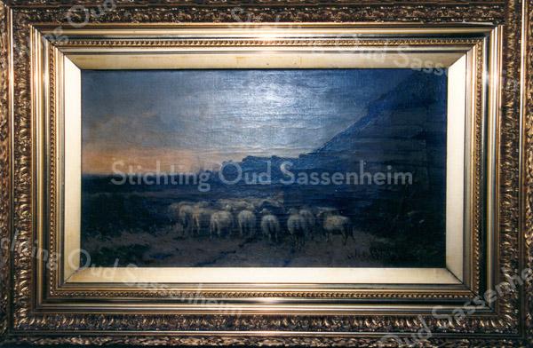F0187c<br /> Cornelis Westerbeek, broer van overgrootvader van Piet Westerbeek, was een verdienstelijk schilder. Hij is geboren in 1844 in Sassenheim en daar overleden in 1903. Volgens de catalogus van Art Gallery Gérard (te vinden onder brochure 0035 B) was hij een van de beste vee- en landschapschilders uit de 19de eeuw. Hij deed veel zaken met de Engelse kunsthandel en maakte als een van de weinige schilders zelf zijn verf. Vele musea en verzamelaars bezitten zijn werk. Hij was een liefhebber van vrouwen en drank. Vier van zijn schilderijen hangen bij de fam. Elkhuizen in Sassenheim, waar ook de foto's werden genomen. Achter in de catalogus wordt nog een schilderij van hem afgebeeld. Zie ook F0187a, F0187b en F0187d.