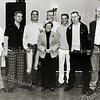 F2576<br /> Jubilarissen bij Adest Musica met in het midden Nia Wagemakers. V.l.n.r.: Johan Kipp, Sander Bakker, Gerard van Diemen, Alexander Keur, Joeri Kuijlenburg, Remond van Steijn en Jeroen van der Tang. Foto: 2004.