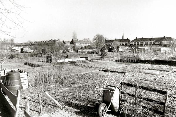 F2488<br /> De volkstuinen bij de Oranjebuurt. Rechts de huizen van de Hein Baderstraat en links de Marijkestraat. Foto: 2002.