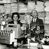 F2713<br /> De heer en mevrouw de Haas in hun manufacturenzaak aan de Kerklaan/hoek Hoofdstraat tegenover de winkel van Casper Verlint. Foto: 1961.