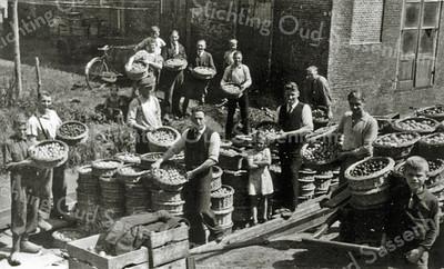 F0078 <br /> Foto, genomen aan de Teijlingerlaan bij de Klapbrug. Het is de eerste fruitaanvoer na de bevrijding. Voorgrond v.l.n.r.: Jan van der Aart, Wim v.d. Abeele, Leen van Klaveren (met pet), Doris Faas, Lies Nederstigt, Jan Faas, Jan van Tongeren, Ben Schreuder en een zoon van gemeentesecretaris Los. Op de achtergrond v.l.n.r.: mevr. Nederstigt, onbekend, Wim v.d. Bent en twee onbekenden. Langs de sloot de heer Nederstigt; de man op de hoek is onbekend. Foto: 1945.