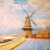 F4290 Een schilderij van Jan Hogewoning met de molen van Speelman tussen de bollenvelden. Foto: 2003