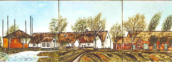 F0614 <br /> Een door pater Van der Geest beschilderd tegeltableau, voorstellend de boerderij van de familie Van der Geest/Remmerswaal in de Hellegatspolder.