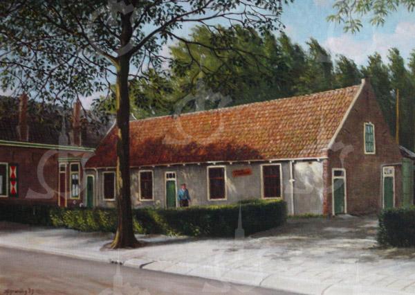 F0743 <br /> Een schilderij van de hand van Jan Hogewoning. We zien de boerderij 't Wespennest van Niek Breedijk, gebouwd in 1925. De stal werd afgebroken, maar de woning heeft er nog jarenlang gestaan. Inmiddels staat hier sinds 1990 een moderne dubbele woning.