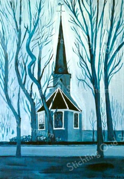 F3864<br /> Een schilderij van de Dorpskerk, gemaakt door dhr. J.J.M. Hersman.