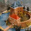 F4308b<br /> Een maquette van het slot Teijlingen, opgesteld binnen de muren van de ruïne van Teijlingen. Foto: 2003