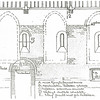F2146<br /> Tekening van de zuidelijke binnenwand van de Ned.-herv. kerk (Dorpskerk) met de ligging van de gotische ramen en daarin getekend de aan te brengen romaanse ramen.