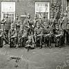 F1608 <br /> Mobilisatie 1914. De 6de van rechts (met kruisje) is Peter Vis. De locatie is onbekend.  Zie ook foto F1609.