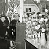 F2676<br /> De opening van de nieuwe groentewinkel van Dorus Faas aan de Oude Haven. In de deuropening Dorus Faas, Dorus en zijn vrouw, daarvóór de moeder van Dorus. Op de achtergrond links het pand van Van Hage en rechts dat van Scholten.