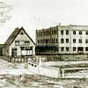 F1846c <br /> Een tekening van de bollenschuur van Papendrecht – Van der Voet aan de Teijlingerlaan (nu appartementencomplex Monte Carlo). Het woonhuis links aan het eind van de Teijlingerlaan tegenover de ruïne van Teylingen was voor de schuurbaas van het bloembollenbedrijf gebouwd; o.a. G. Heemskerk heeft er gewoond.