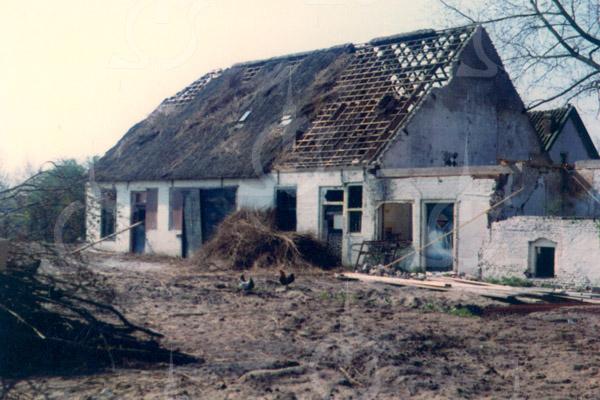 F0734e <br /> De voormalige boerderij Jagtlust aan de Warmonderweg nr. 33. Het pand is later in vier woningen verdeeld, waarvan de eerste aan de voorkant indertijd werd bewoond door de fam. Roodenburg; het tweede door de fam. Van Benten; het derde door de fam. Van der Elst en het vierde door de fam. Kapaan. Aan de achterkant stond tegen het huis nog een gebouwtje, waarin de karnmolen heeft gestaan. Later werd dit gebouwtje bewoond door dhr. Schrama. Ook heeft Klaas v.d. Elst (broer van de opa van Fons v.d. Elst) in dat huisje gewoond. Cor v.d. Elst, de vader van Fons, heeft in het rechter huisje gewoond, net als de fam. De Stigter. In het zomerhuis met het opschrift 'Jagtlust' woonden de fam. Jansen en De Hollander. Beide panden zijn in 1982 gesloopt.