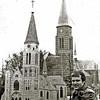 F2315<br /> Dhr. Joop Haverkort met de miniatuur-St.Pancratiuskerk, gebouwd met luciferstokjes.