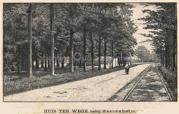 F3229<br /> De Rijksstraatweg of Hereweg met links het toegangshek naar Huis ter Wegen.