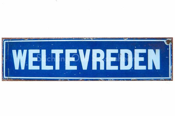 F2058<br /> Straatnaambord van Weltevreden, het buurtje achteraan de Kastanjelaan. Later kwam er ook een verbinding met de Concordiastraat.