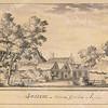 F3473<br /> Een prent uit 1641 van een stukje Sassenheim. Waarschijnlijk staan de huisjes op de plaats waar het Verenigingsgebouw heeft gestaan bij de Dorpskerk.