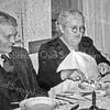 F3789<br /> Toon Noordermeer en zijn huishoudster mevrouw Goemans. Foto: 28 nov. 1953