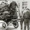 F1962<br /> Kolenboer Arie Vos op de bok van de kolenwagen. Bij het paard staat zijn knecht C. v.d. Pijl. De foto is genomen op het terrein van hotel-café-restaurant 't Bruine Paard. Foto: 1920.