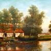 """F3784<br /> Het schilderij is geschonken op 30 maart 2015 door de heer Sijtze Sijtsma uit Nieuwerkerk aan den IJssel.De situering van het Schilderij. Uit de tekst """"Als men met de stoomtram van Leiden komt gaat men bij Sassenheim over het bruggetje en dan op de brug rechts kijken."""" was al gauw bekend wat het schilderij uitbeeldde. <br /> <br /> Er is een oude foto (F3278) in het archief gevonden van deze plek, de Zandsloot genaamd, vanaf de brug gezien. Op deze foto staat nog een bollenschuur.  Op het schilderij is ook een bollenschuur te zien, herkenbaar aan de deuren. Dus geen oude huisjes zoals de schilder of anderen later dachten. Op het schilderij bevindt zich een z.g. stoepje (een klein hout vlondertje boven het water) wat ook op de foto voorkomt, wat gezien de positie in de bocht van de sloot hetzelfde zou kunnen zijn."""
