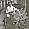 F3156<br /> Ted Scholten met de transportfiets, 1950