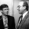 F4074 <br /> De nieuwe OVS-voorzitter Van Raalte (rechts) in gesprek met dhr. Peter Melman, bestuurslid OVS. Foto: 1994