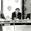 F2575<br /> Raadsvergadering met drie burgemeesters in het gemeentehuis van Sassenheim. Links burgemeester J.C. Waal. In het midden Jos Wienen, destijds burgemeester van Katwijk, nu (2017) van Haarlem. Foto: 2004.