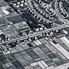 F3556<br /> Een luchtfoto van Sassem-noord. De Hoofdstraat loopt van rechts naar links, richting Lisse. Op het kruispunt staat villa Hyacintha (wit). De linkse 'kromme' laan is de Ter Leedelaan; de tweede is de Van Pallandtlaan.