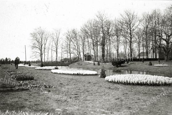 F0350 <br /> Bloembollententoonstelling in de vollegrond voor Het Oude Koningshuys in 1907. Zie ook F0347 en F0348.