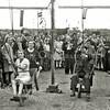 F2874<br /> Ringsteken op de kermis in 1945. Rechts mevr. Molema en Niek Noordermeer.