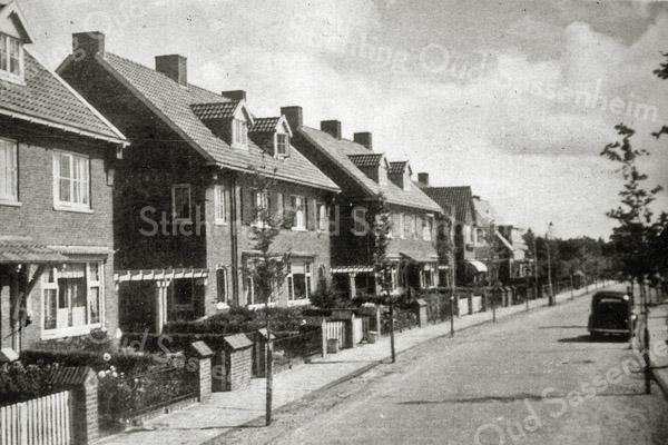 F0545 <br /> Willem Warnaarlaan, gezien vanaf de Hoofdstraat. Het laatste huis werd indertijd bewoond door de fam. van wachtmeester H.G.A. van der Laan. Daarna volgde er een uitgebreid bos. Thans is de hele laan volgebouwd tot aan de Parklaan. Foto: jaren '50.
