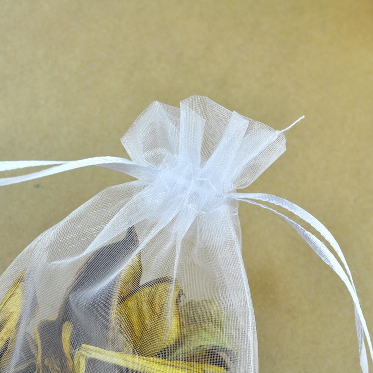 100pcs//lot Drawable White Small Organza Bags 7x9cm Favor Wedding Christmas Gift