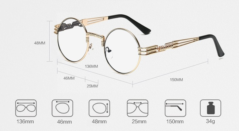 eb775c5e630 Peekaboo clear fashion gold round frames eyeglasses for women vintage  steampunk round glasses frames for men male nerd metal