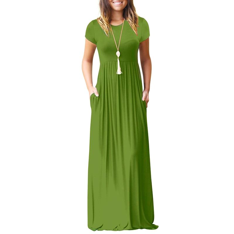 0f98e2ee537 Summer Casual Long Dresses For Women Short Sleeve Pocket Floor Length Maxi  Dress Women O Neck