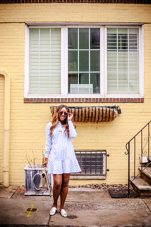 Blue/White Stripe Dress - Philly Row Houses