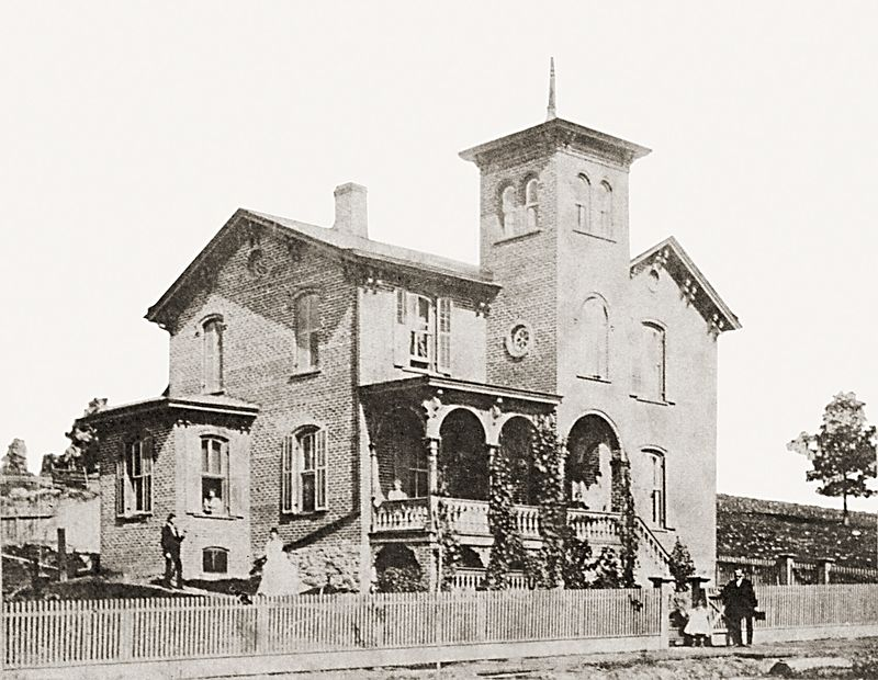 The Nathan Shafer house on Greenridge Street in Scranton, Pennsylvania about 1865.
