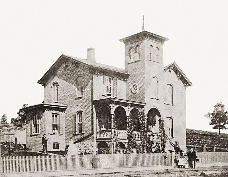 The Nathan Shafer house on Greenridge Street in Scranton, Pennsylvania about 1865.