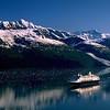 "Alaska. Prince William Sound. Holland America cruise ship ""Ryndam"" in College Fjord."