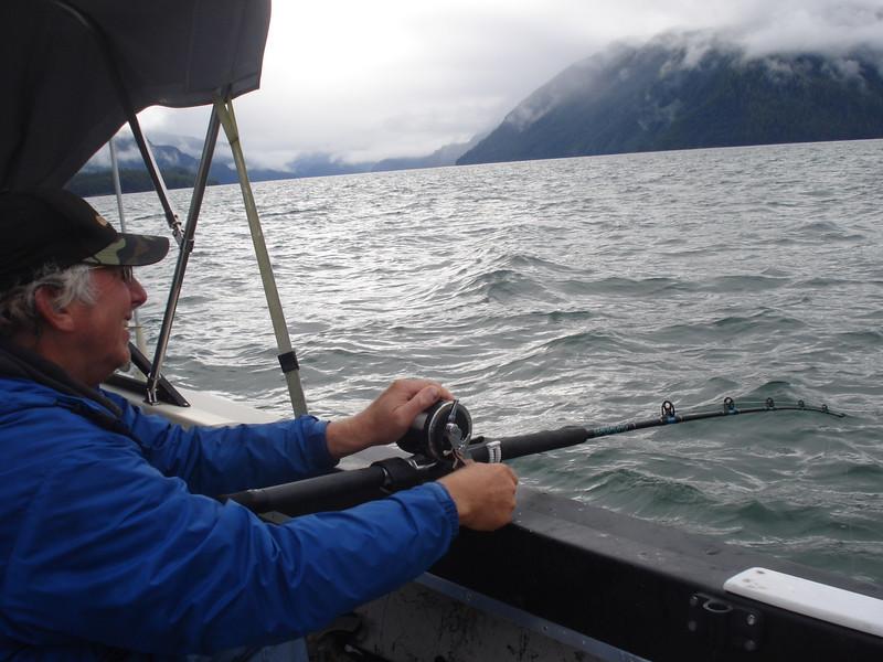 Slammer fighting 8 pound halibut
