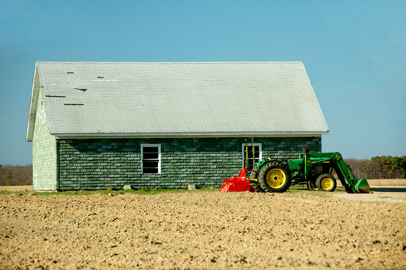 A green barn in Riverhead.