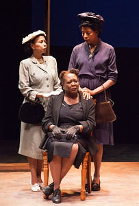 Word for Word brings Edward P. Jones' short story All Aunt Hagar's Children to the stage at Z Space. Running from 11/16/16 to 12/11/16.Aunt Penny (Margo Hall), Miss Agatha (Edris Cooper-Anifowoshe) and Bertha (Velina Brown) pay a visit.Photo by Julie Schuchard