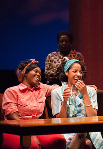 Word for Word brings Edward P. Jones' short story All Aunt Hagar's Children to the stage at Z Space. Running from 11/16/16 to 12/11/16.Blondelle (Kehinde Koyejo) and Mary (Jia Taylor) hang out in Mojo's bar with Harriet (Edris Cooper-Anifowoshe) looking on.Photo by Julie Schuchard