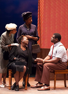 Word for Word brings Edward P. Jones' short story All Aunt Hagar's Children to the stage at Z Space. Running from 11/16/16 to 12/11/16.The Young Man's (Khary L. Moye) elders (L-R Margo Hall, Edris Cooper-Anifowoshe, Velina Brown) ask an urgent favor.Photo by Julie Schuchard