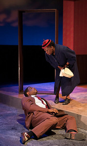 Word for Word brings Edward P. Jones' short story All Aunt Hagar's Children to the stage at Z Space. Running from 11/16/16 to 12/11/16.The Young Man (Khary L. Moye) is interrogated by Miss Hattie (Edris Cooper-Anifowoshe).Photo by Julie Schuchard