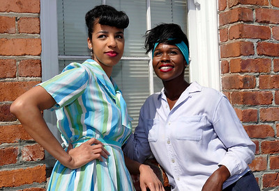 L-R  Jia Taylor and Kehinde Koyejo.   Mary and Blondelle question the detective.  photo credit:  Mel Solomon