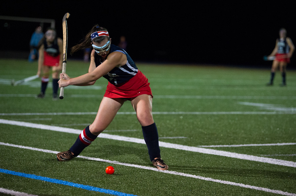 . Alexis Reidy of North Middlesex hit\'s the ball up field during the All Awareness Cancer Field Hockey Game against Lunenburg on Monday Oct. 2, 2017 at Lunenburg High School. SENTINEL & ENTERPRISE JEFF PORTER