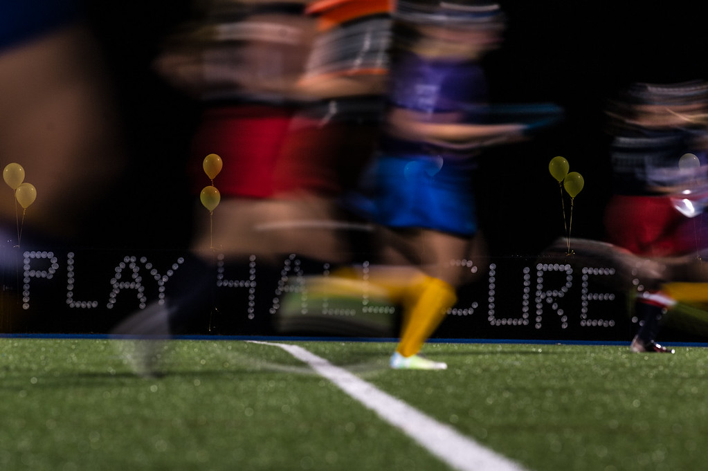. Balloons decorate the fence at Lunenburg High School\'s turf field during the All Awareness Cancer field hockey game between North Middlesex and Lunenburg on Monday Oct. 2, 2017. SENTINEL & ENTERPRISE JEFF PORTER