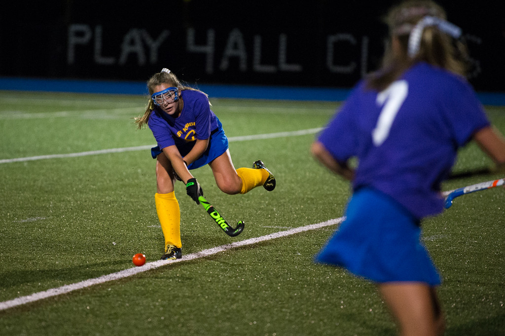 . Lena Spadafore of Lunenburg passes the ball to a teammate during the All Awareness Cancer Field Hockey Game against North Middlesex on Monday Oct. 2, 2017 at Lunenburg High School. SENTINEL & ENTERPRISE JEFF PORTER