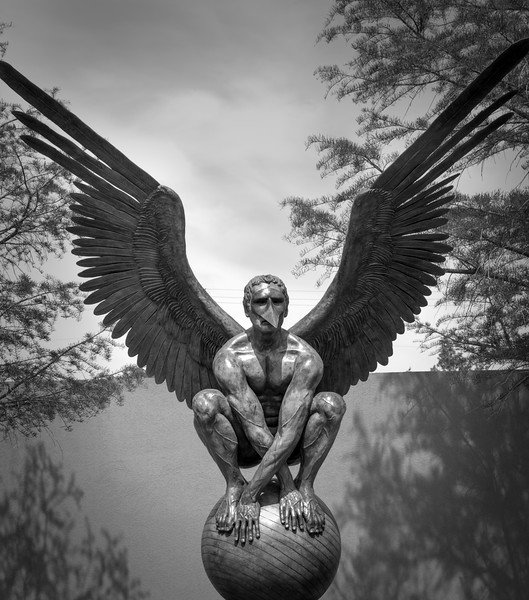Bronze Angel Statue by Mexican sculptor Jorge Marín at Dallas Latino Cultural Center