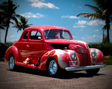 Red 1939 39 Ford Flames Sanibel car show
